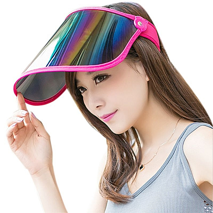 9df3d9676f52e0 Women Summer Empty Top Sun Visor Hat Plastic Panel UV Protection Adjustable  Angle Large Wide Brim