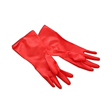 Cleaning Long Sleeve Rubber Kitchen Wash Dishes Dishwashing Gloves - Red