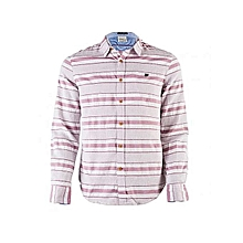 White Long Sleeved Shirt With Maroon Stripes