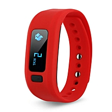 Bluetooth 4.0 Smart Wristband Fitness Tracker For Android IOS  (Color:Red)