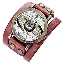Olivaren CCQ Personality Dial Casual Analog Quartz Bracelet Watch Coffee