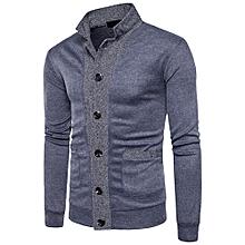 Mens' Autumn Winter Patchwork Stand Neck Sweatshirt Tops Blouse-Dark  Gray