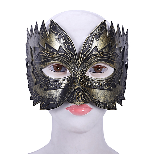 c4e0512a6886 Generic 1 Pcs Men's Masquerade Mask Ball Masks Stag Party Fancy Dress  Venetian Eye Face Sawtooth Carved Gold