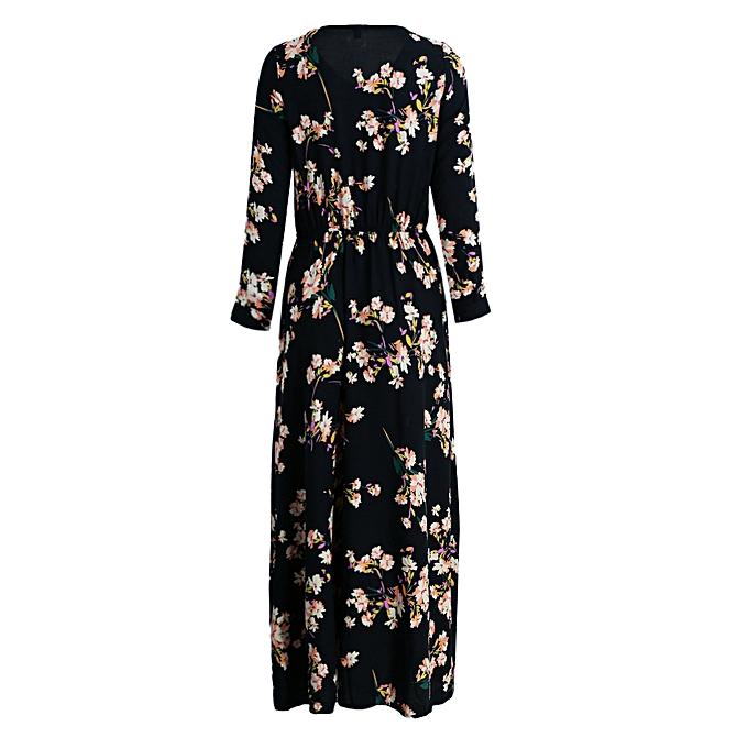 5183cb7a6611 Fashion New Europe Women Long Sleeve Floral Maxi Dress O Neck High Elastic  Waist Slim A-Line Long Dress Dark Blue