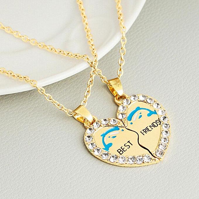 708d91ce1aca8 Women 2Pcs\Set Rhinestone Broken Heart &Best Friends& Letter Crystal  Pendant Necklace