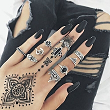 10pcs/Set Women Bohemian Vintage Silver Stack Rings Above Knuckle Blue Rings Set - Silver