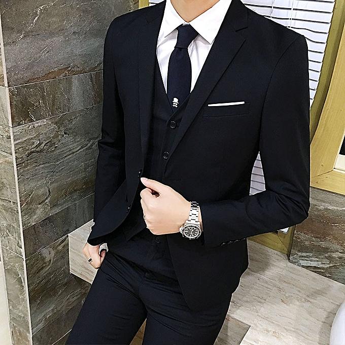 bc5741caf097 Fashion Korean men s suit 3 sets slim fit business formal suits dinner  groom wedding dress (jacket + pants + vest).