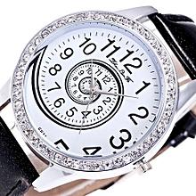 Lady  Leather Wrist Watch Zhoulianfa Luxury Women Analog Quartz Watch Leather Band Rhinestone Wrist Watch BK-Black