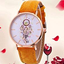 Women Wind Chimes Pattern Quartz Watch Cowboy Belt Table Watch YE
