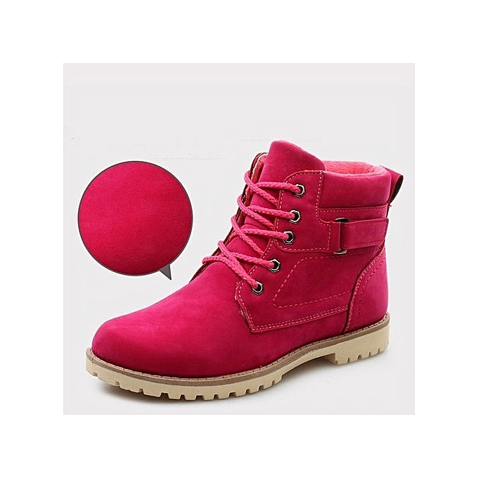 a24dbf2fc448 Eissely bluerdream-Women Keep Warm Fashion High Bandage Boots Short Plush Pointed  Toe Boot Shoes- Hot Pink