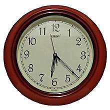 Wall clock QUARTZ - ROUND shaped, WOOD IVORY colour, plastic frame 32 cms diametre.