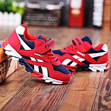 Baby Fashion Solid Sneaker Child Girls Boys Toddler Casual Sport White Shoes- red and navy blue size 27
