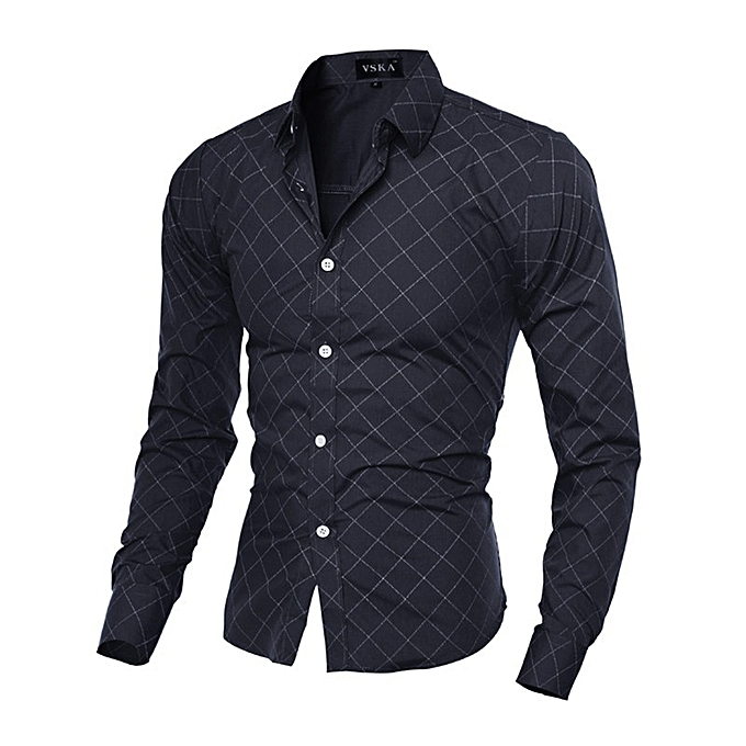1f0c51d6 New Stylish Classic Rhomboids Men's Long Sleeve Shirt