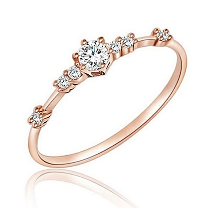 2cc744bcac3 14K Gold Seven Small Diamonds Delicate Women s Engagement Ring Jewelry  Handwear Accessories