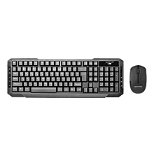 KEYMATE-4: Promate Wireless Keyboard & Mouse Combo with 2.4GHz wireless connection, silent keys, optical mouse & USB port(batteries excluded)
