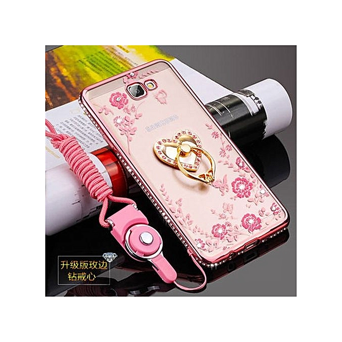 Rhinestone Phone Case Cover Holder Stand Protective Ultra-thin Silicone Soft Case For Samsung Galaxy