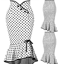 Hiamok_Fashion Women Sexy Casual Polka Dot Botton Ruffles Tight-Fitting Hip Party Skirt