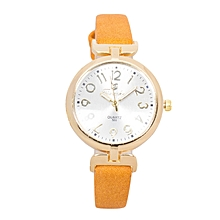 Orange PU Leather Strap Women's Watch..