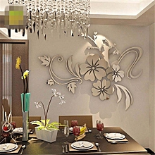 3D Mirror Floral Art Removable Wall Sticker Acrylic Mural Decal Home Room Decor-Silver
