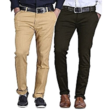 Jungle Green And Beige 2 Pack Slim Fit Khakis - Slightly Stretch+Free pair of socks