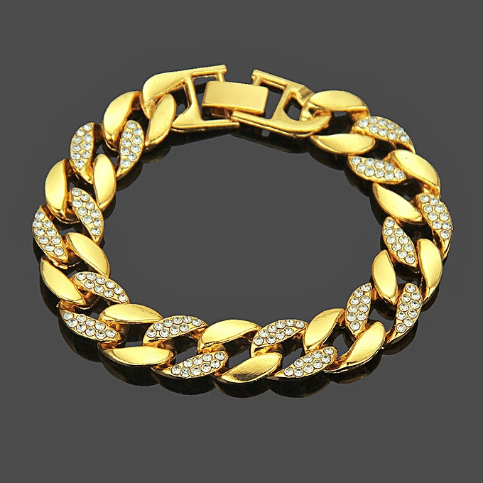 4b53b212bf2cf The hip-hop insets water to drill a bracelet man to plate with gold  bracelet Cuban chain