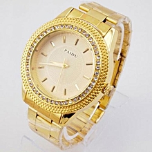 Watch Mens Gold Watches Diamond Dial Gold Steel Analog Quartz Wrist Watch-Gold