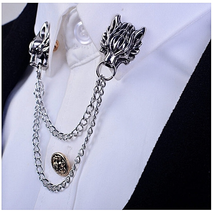 2016 Silver Chain Dragon Wolf Tiger Brooches Collar Pins Lapel Pin Brooch  Pins Men Tassel Chain Brooch