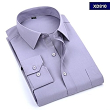 Grey Plain Formal Official Long Sleeved Shirt-slim fit