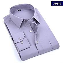 Grey Plain Formal Official Long Sleeved Shirt-slim fit