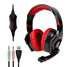 Adjustable Headset 3pcs 3.5MM USB Plug Gaming Headphones - Red