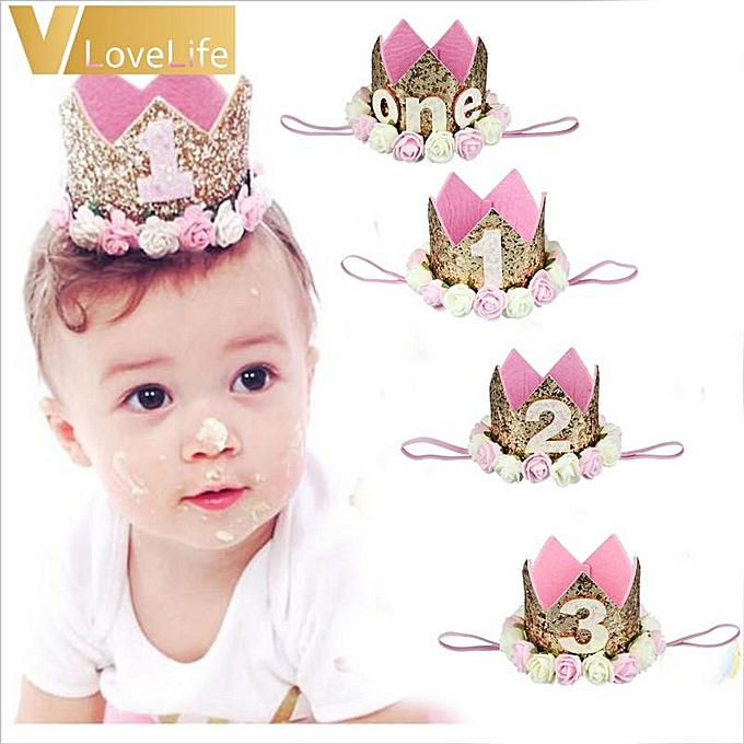 Birthday Hat Princess Crown One 1st 2nd 3rd Year Old Number Baby Kids