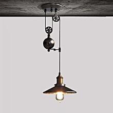 E27 Nordic Vintage Pendant Light Loft Pulley Lift Droplight AC 85V - 265V  - Black