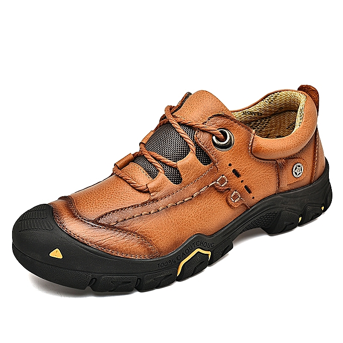 Socnodn Men Fashion Casual Leather Hiking Work Shoes Boots Brown