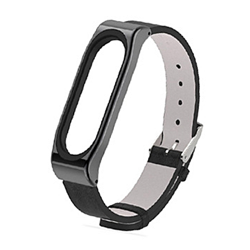 Mijobs PU Leather Strap for Xiaomi Mi Band 3 Wrist Straps Screwless Magnetic Bracelet Mi Band3 Smart Band Replace Accessories, Host not Included