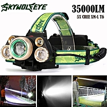 Camping & Hiking Flashlight 35000 LM 5X XM-L T6 LED Rechargeable Headlamp Headlight Travel Head Torch