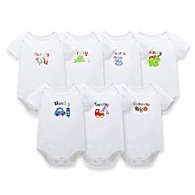 7 Pieces set of White Short sleeved Body Suits/Rompers one for each day of the week
