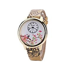 Blicool Wrist Watch  Womens Wrist Watch Flower Butterfly Crystal Leather Band Quartz Dial Watch -yellow