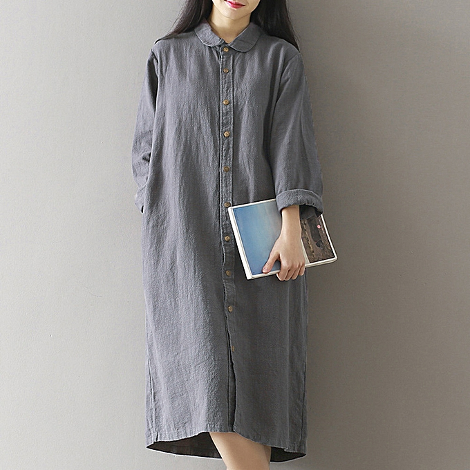 3e09bbc33c96 Generic Women Retro Cotton Shirt Dress Turn-Down Collar Long Sleeve Plus  Size Casual Long Line Blouse Top Grey Coffee