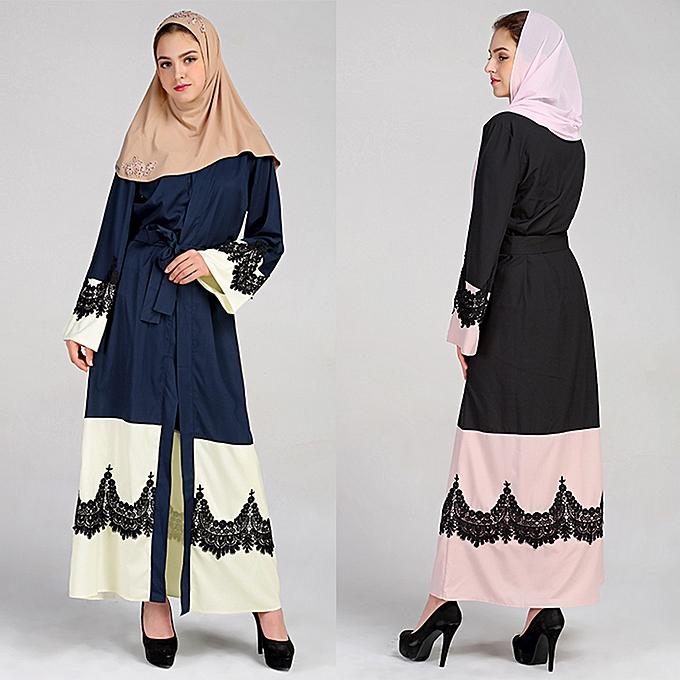 e78481d574 ... Women Plus Size Muslim Cardigan Crochet Lace Spliced Open Front Long  Wide Sleeve Maxi Gown Islamic ...