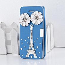 Cute Handbag Rhinestone Magnetic Leather Flip Hard Skin Case Cover For iPhone 5/5S/5G-Sky Blue