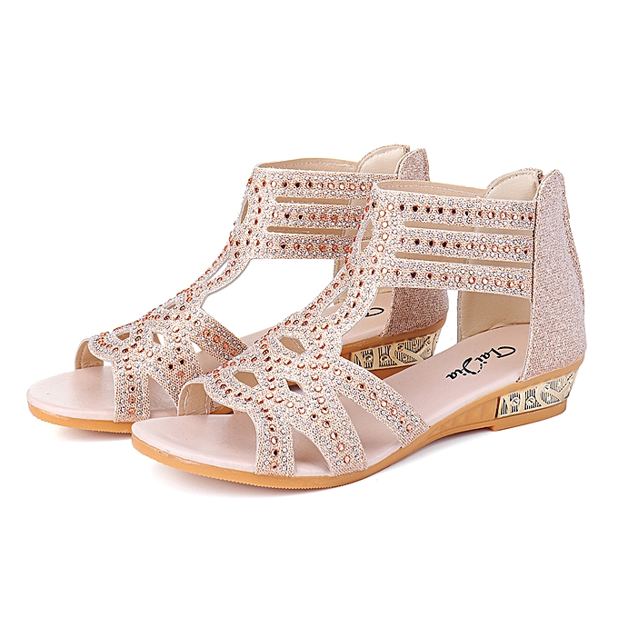 5a9a66956ae Women's Diamante Flat Low Heel Wedge Sandals Shoes