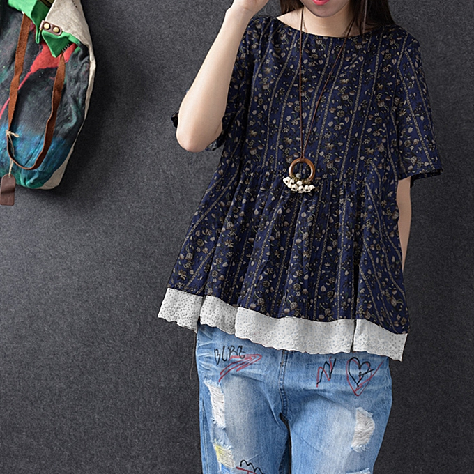 6b5ad967ee89d8 ZANZEA Women Floral Printed Short Sleeve Tunic Swing Tops Shirt Blouse