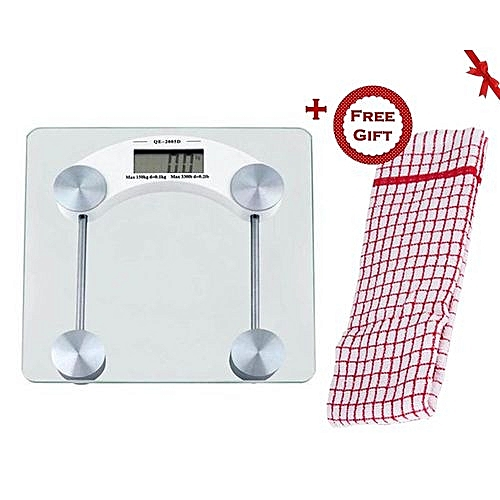 Digital Glass Bathroom Scale (+ Free Gift Hand Towel)