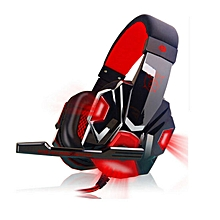 PC780 Casque audio PC Gaming Headphone with Mic Stereo Bass(Black Red)
