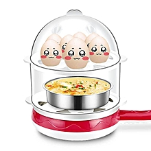 Rapid Egg Cooker Double layer Multifunctional Big Capacity Poacher and Steamer # Rose 110V US Plug