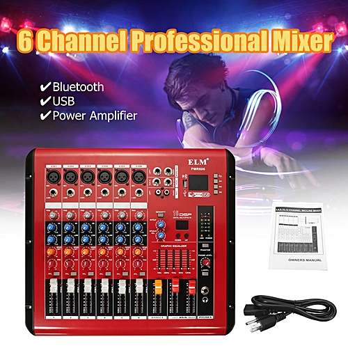 LEORY Professional Karaoke Audio Mixer Amplifier Microphone Sound Mixing  Console Bluetooth 6 Channel With USB 48V Power