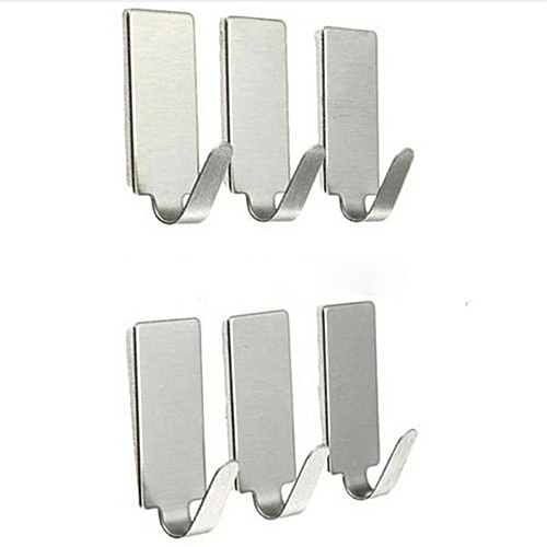 6PCS Self Adhesive Home Kitchen Wall Door Stainless Steel Holder Hook Hanger -silver