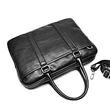 Men Black Brown Business Handbag Soft Briefcase with Detachable Shoulder Strap