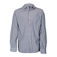 White And Grey Striped  Men's Shirt