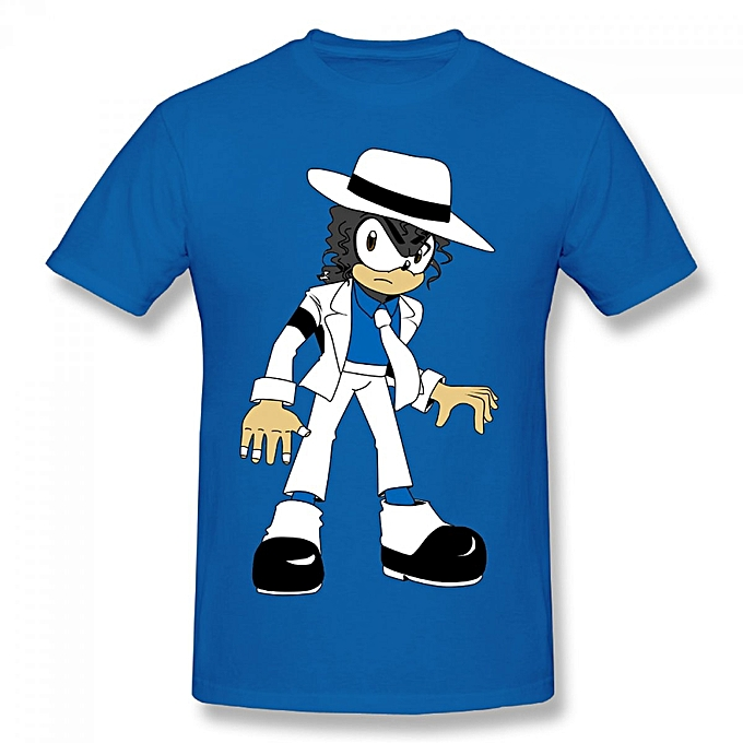 ce4a04a1001c Michael Jackson The Hedgehog Smooth Criminal Men's Cotton Short Sleeve  Print T-shirt Blue